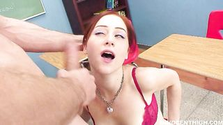 Kinky redhead Cameron Love likes to have bf's tool for breakfast