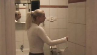 Cheerful babe Lili is licking his big shlong with passion