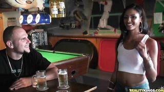 Lustful latin brunette Jasmine Rios wears nothing while giving a blowjob