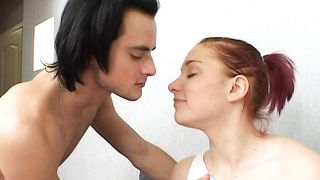 Sensual redhead floosy has her cunt banged by surprise
