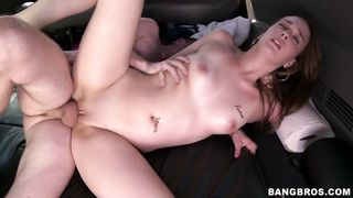 Spicy brunette hottie Vanessa Renee receives an intense doggy style drilling