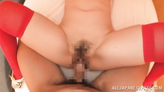 Appetizing girlfriend Hina Kamikawa with great tits gets licked up then the rod destroys her hard