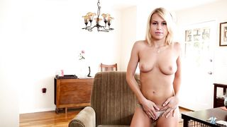 Teen blonde Kendall Kayden squeezes her small boobs and shows ass
