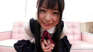 Japanese schoolgirl Tsubomi gets a vibrator to get a pleasure solo