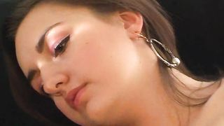 Young Jane B. with perky tits masturbates using a big dildo