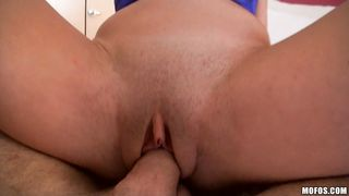 Barefaced Vanessa Sixxx gets blasted at the