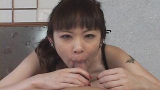 Shameless Tomoka Matsunami gets stuffed with hard slim jim