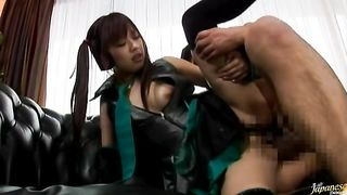 Glamor chick Miyu Hoshino gets on her knees to suck a stick