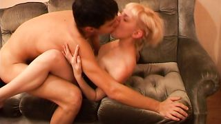 Lusty young blonde perfection knows how to please him