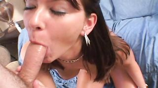 Lever loving voracious gf Jodi is eagerly sucking a huge phallus and getting it inside her lovebox