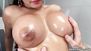 Sassy brunette latin diva Natalie receives firm and passionate pie plowing