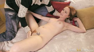 Ravishing Ella Hughes whimpers while being doggy styled hard